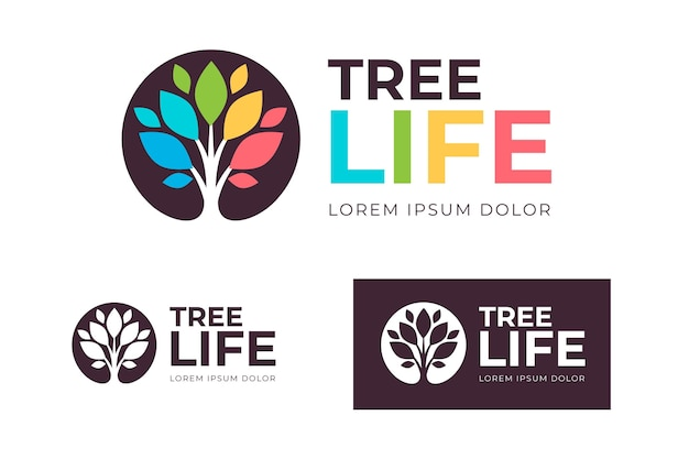 Tree life logo collection Premium Vector