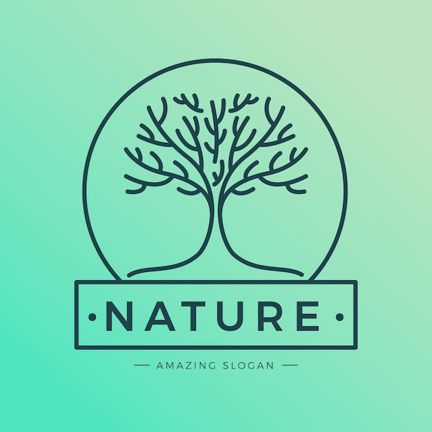 Плоский дизайн логотипа tree life Premium векторы
