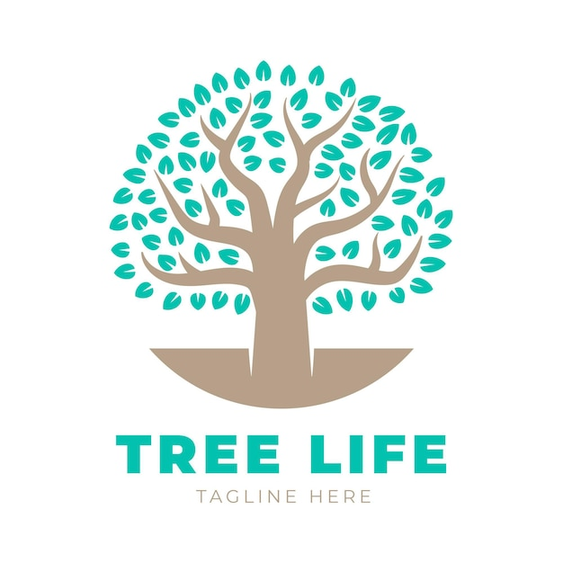 Tree life logo template with tagline Free Vector