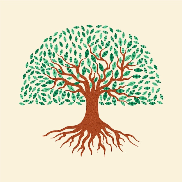 Tree life with green leaves hand drawn Free Vector