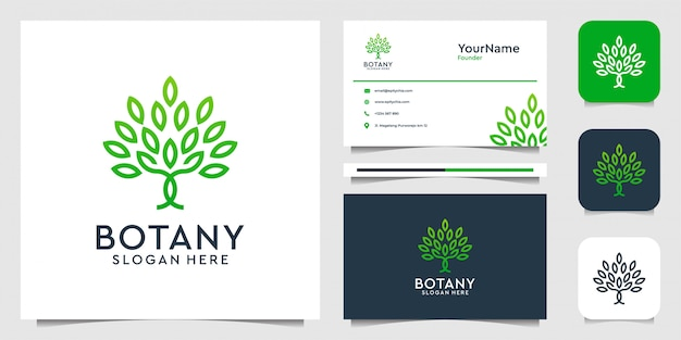 Tree logo   in line art style. suit fo spa, decoration, leaf, feminine, nature, jungle, forest, and business card Premium Vector