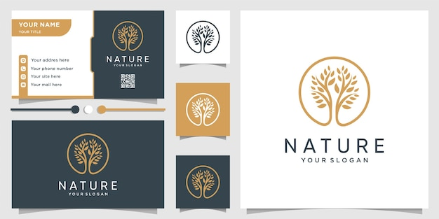 Tree logo with modern unique concept and business Premium Vector