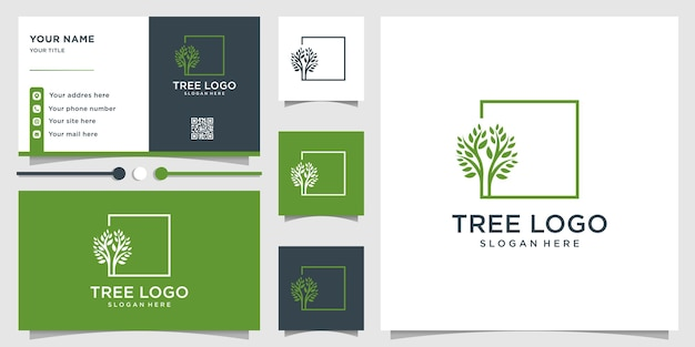 ユニークなコンセプトとビジネスを持つ木のロゴ Premiumベクター
