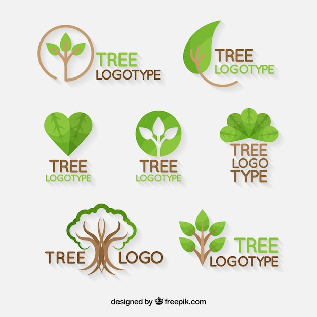 Tree logos collection in flat style Free Vector