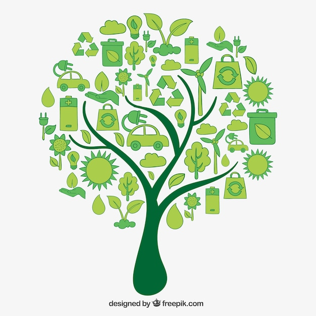 Tree Made Of Eco Icons Vector