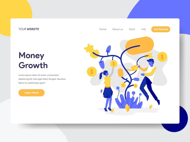 Tree money growth for web page Premium Vector
