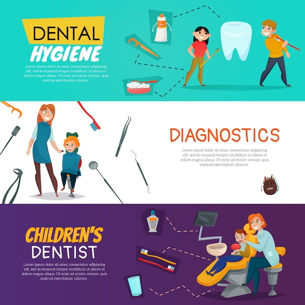 Tree pediatric dentistry with dental hygiene diagnostics for children Free Vector