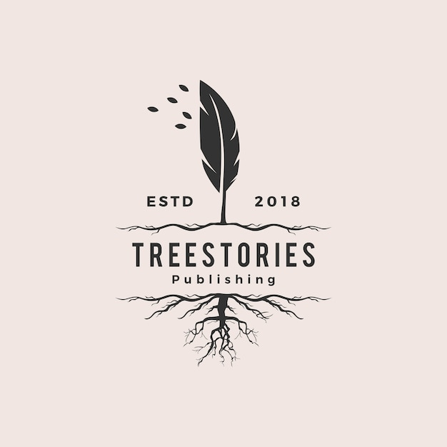 Tree quill feather ink root logo vintage retro hipster Premium Vector