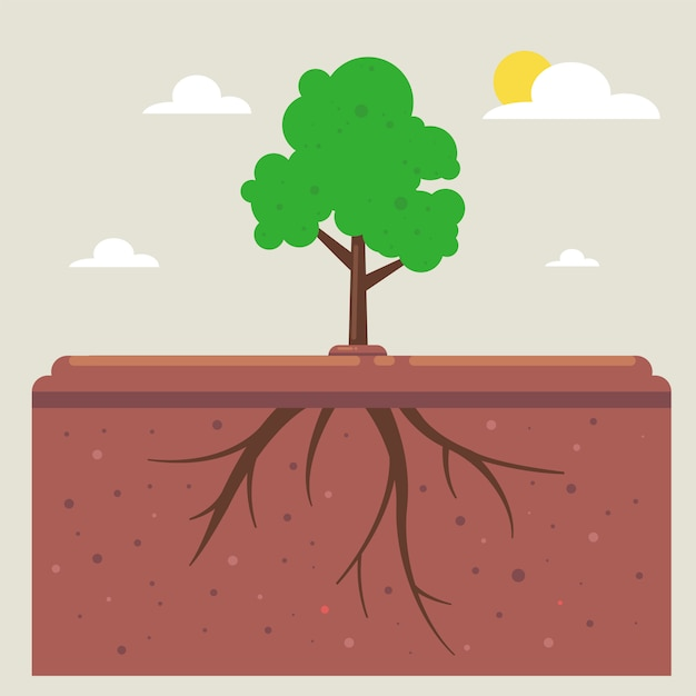 Tree roots under the ground Premium Vector