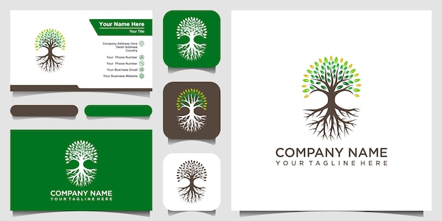 Tree and roots logo  elements. green garden  logo template and business card design Premium Vector
