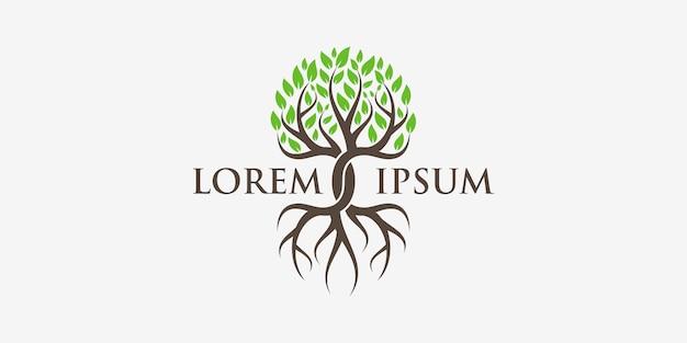 Tree and roots logo. green garden   Premium Vector