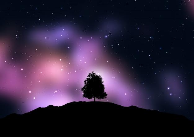 Дерево вырисовывается на фоне звездного космического неба Бесплатные векторы
