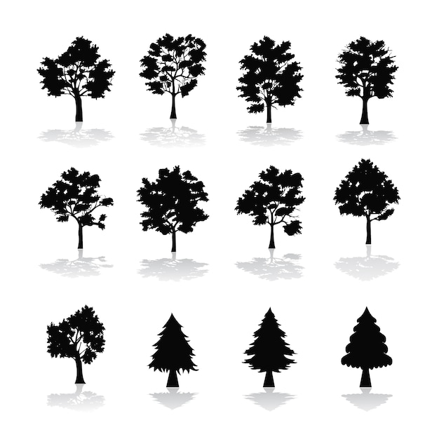 Tree silhouettes collection Free Vector