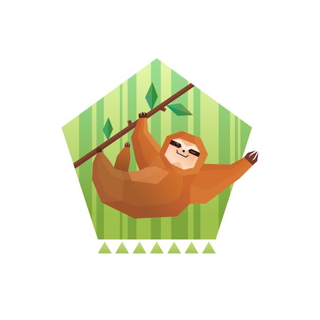 Tree sloth pentagon composition Free Vector