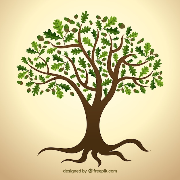 Tree with green leaves Premium Vector
