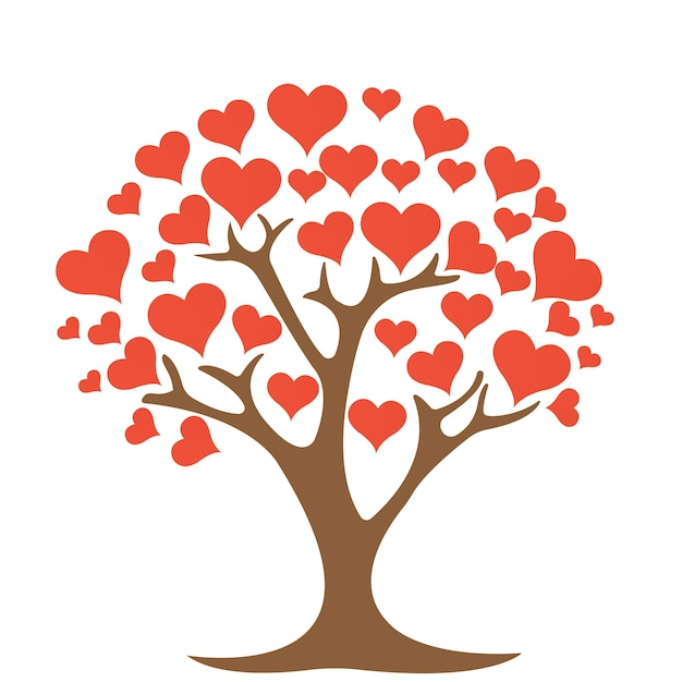 Tree with heart on white background Vector | Premium Download