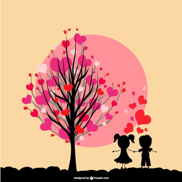 Tree with hearts in its branches and kids in love Free Vector