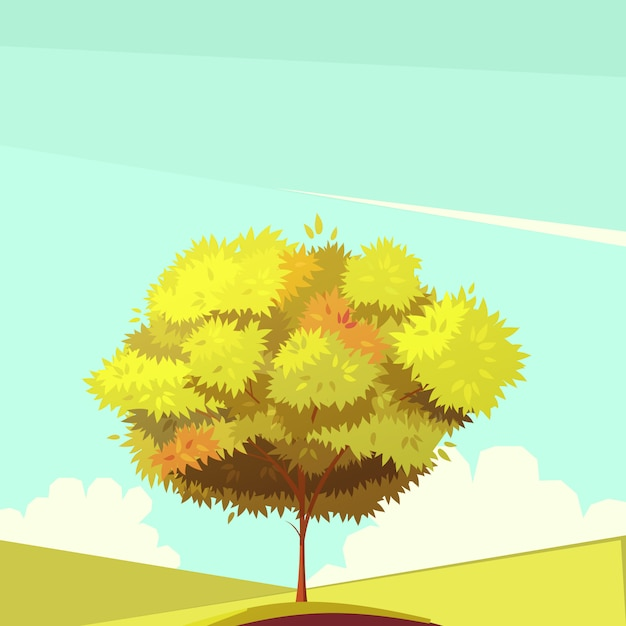 Tree with root retro cartoon illustration Free Vector
