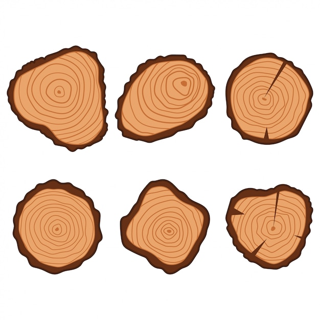 Tree wood ring flat icons set isolated Premium Vector