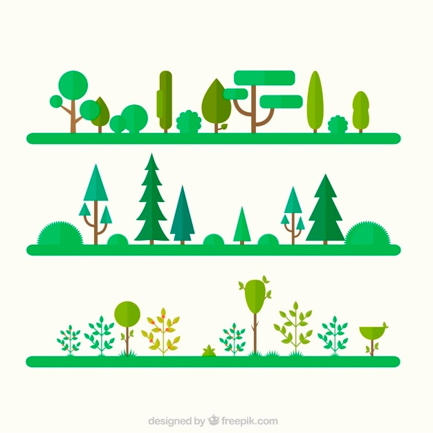 Trees And Garden Icons Free Vector