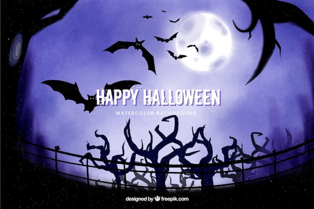 Trees and bats halloween background Free Vector