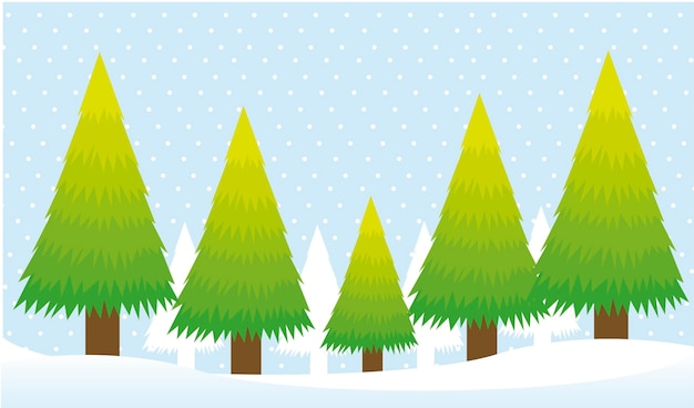 Trees card over snow background christmas vector Premium Vector