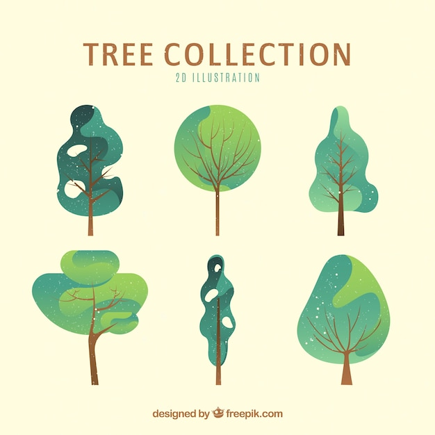 Trees collection in 2d style Premium Vector
