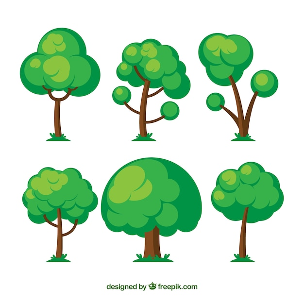 Trees collection in hand drawn style Free Vector