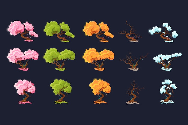 Trees at different times of the year. trees in each of the four seasons. Premium Vector