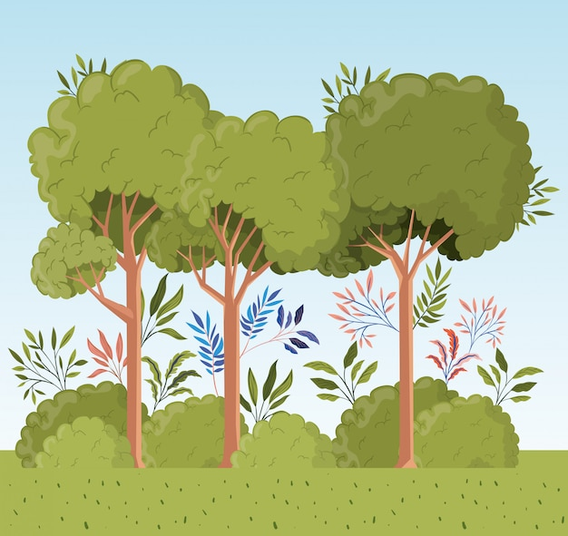 Trees and leafs with bush landscape scene Free Vector