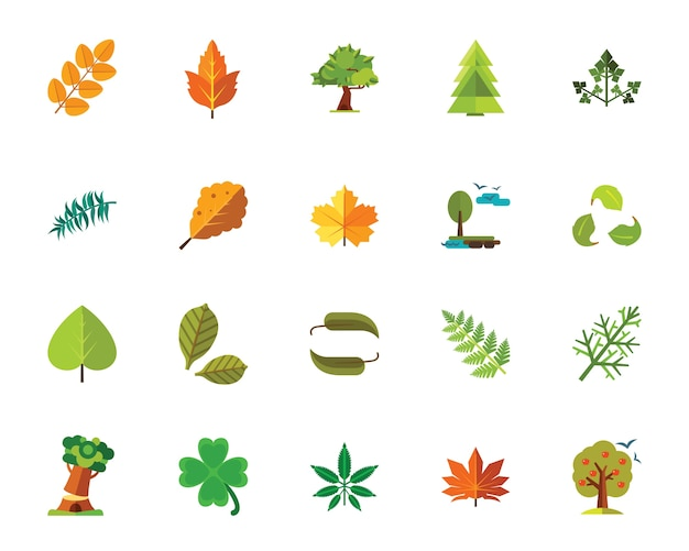 Trees and leaves icon set Free Vector