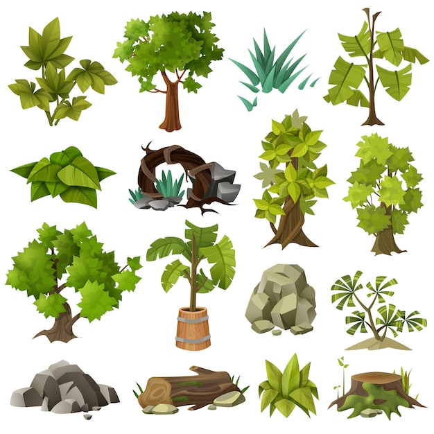 Trees plants landscape gardening elements collection Free Vector