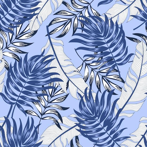 Тренд бесшовные тропический узор с яркими растениями и листьями на фиолетовом фоне Premium векторы