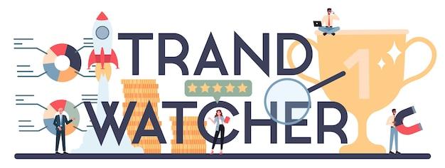 トレンドウォッチャーのコンセプト。新しいビジネストレンドの出現を追跡するスペシャリスト。 Premiumベクター