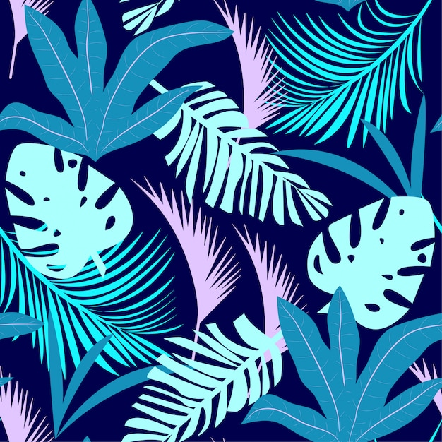 Trending bright seamless pattern with colorful tropical leaves and plants on purple background Premium Vector