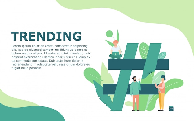 Trending topic with hashtag template Premium Vector