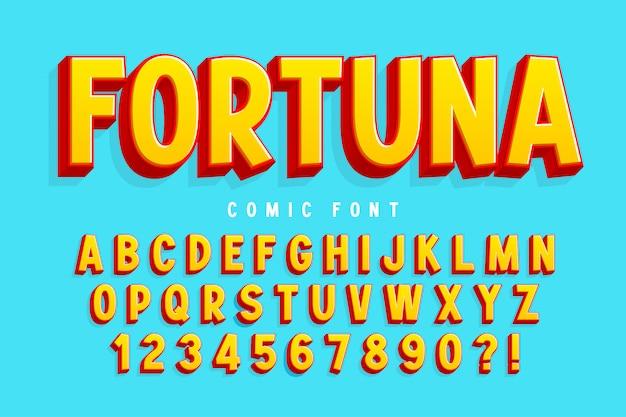 Trendy 3d comical font, colorful alphabet, typeface Premium Vector