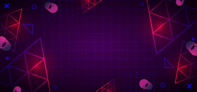 Trendy 80s abstract geometric background Premium Vector