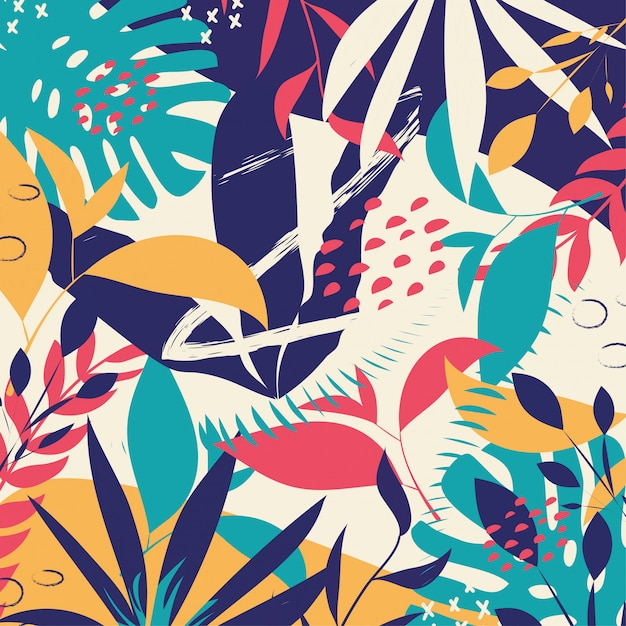 Trendy abstract background with colorful tropical leaves and flowers Premium Vector