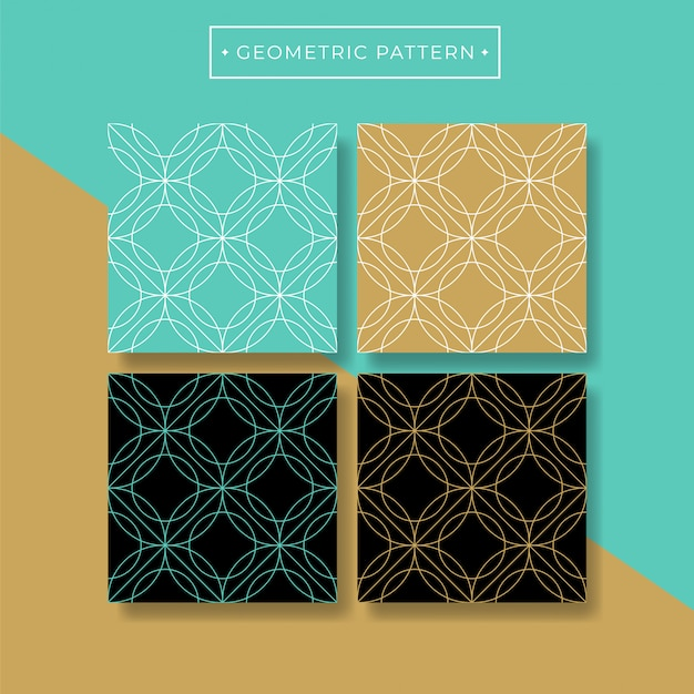 Trendy abstract geometric seamless pattern collection Premium Vector