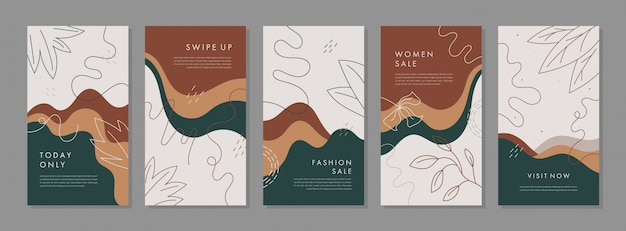 Trendy abstract universal template with nature concept for instagram and facebook stories Premium Vector