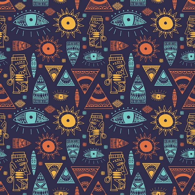 Trendy african maya seamless pattern with doodle hand drawn ancient objects Premium Vector