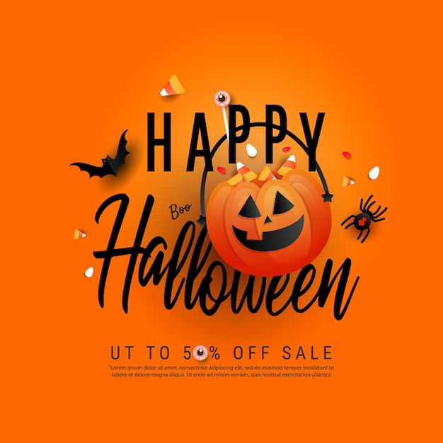 Trendy art happy halloween template poster with orange trick or treat pumpkin and color candy, bats, spider and creative hand draw text on orange background. flat lay, top view with copy space Premium Vector