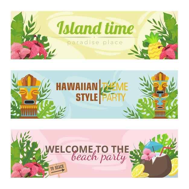 하와이 휴일 벡터 일러스트 레이 션에 대 한 최신 유행 배너. 밝은 토템, 꽃, 과일 및 텍스트. 여름 휴가 및 섬 개념 무료 벡터