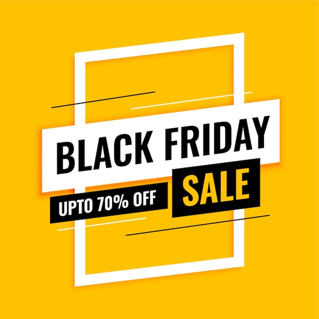 Trendy black friday sale banner on yellow Free Vector