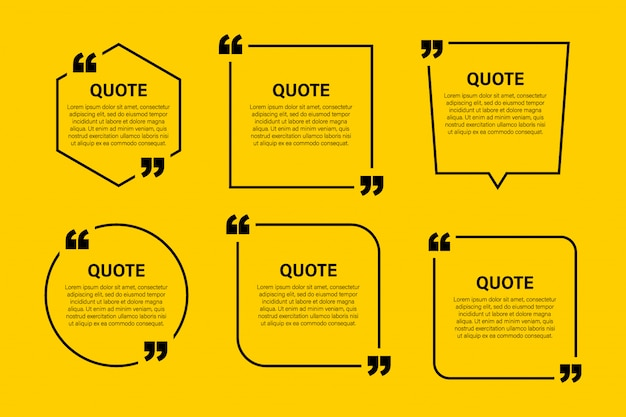 Trendy block quote modern design elements. creative quote and comment text frame template. Premium Vector