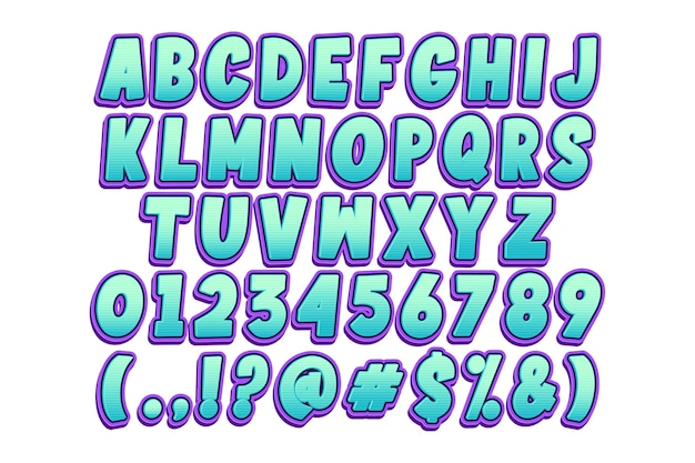 Модный мультяшный шрифт и номер Бесплатные векторы