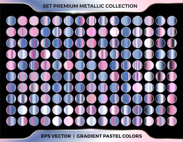 Trendy colorful gradient rose gold, pink, purple, azure combination mega set collection of metal pastel palettes for border frame ribbon cover label templates Premium Vector