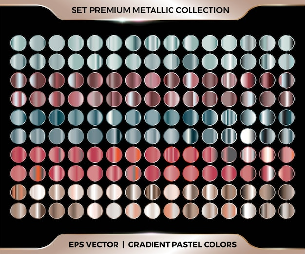 Trendy colorful gradient rose gold, red, green, brown combination mega set collection of metal pastel palettes Premium Vector