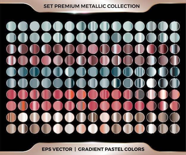 Модный красочный градиент розового золота, красного, зеленого, коричневого сочетания мега-набор коллекции металлических пастельных палитр Premium векторы
